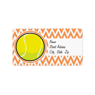 Tennis; Orange and White Chevron Label