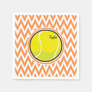 Tennis; Orange and White Chevron Paper Serviettes