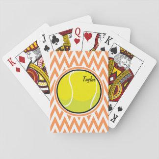 Tennis; Orange and White Chevron Playing Cards