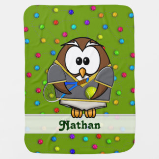 tennis owl - boy baby blanket