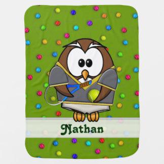 tennis owl - boy buggy blanket