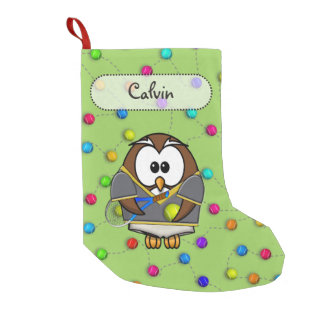 tennis owl boy small christmas stocking