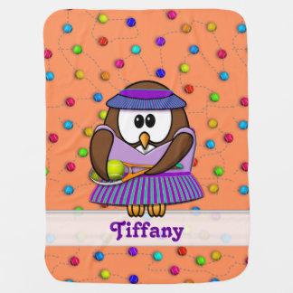 tennis owl - girl baby blanket