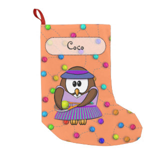 tennis owl girl small christmas stocking