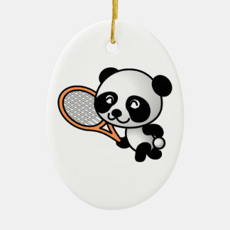 Tennis Panda Christmas Ornament