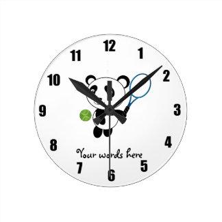 Tennis Panda Round Clock