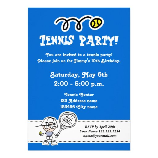 Tennis party invitations for boy's Birthday
