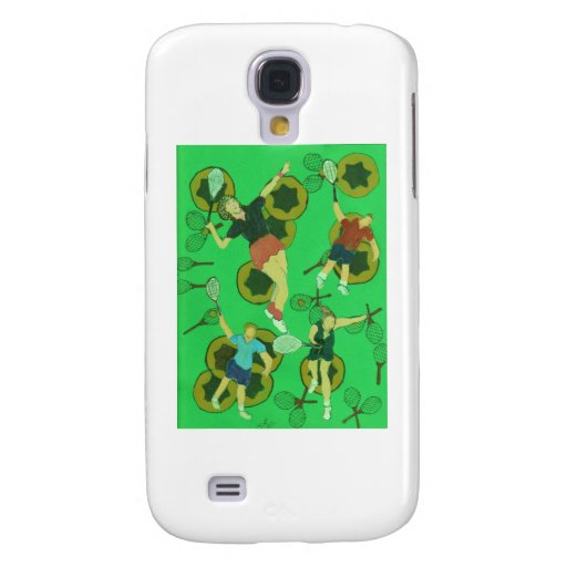 tennis people on balls and racquets samsung galaxy s4 cover