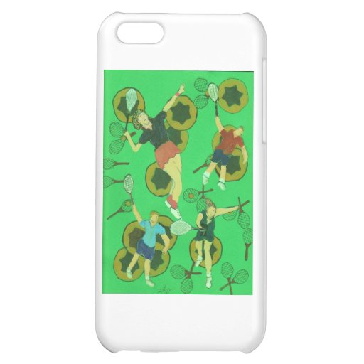 tennis people on balls and racquets case for iPhone 5C