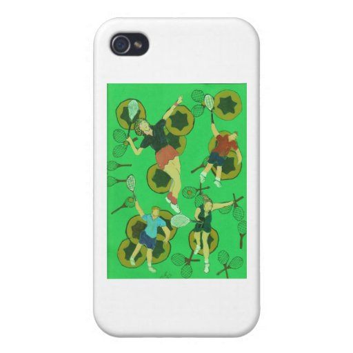 tennis people on balls and racquets iPhone 4 case