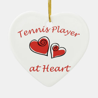 Tennis Player at Heart Ceramic Heart Decoration
