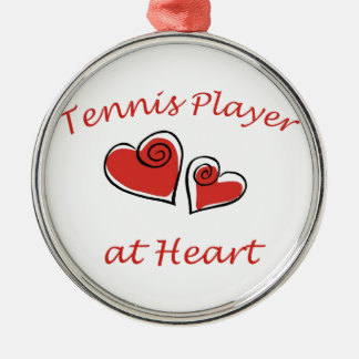 Tennis Player at Heart Silver-Colored Round Decoration
