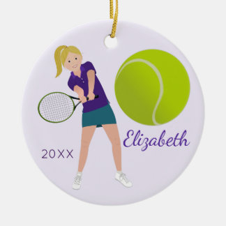 Tennis Player Blonde Keepsake Ornament