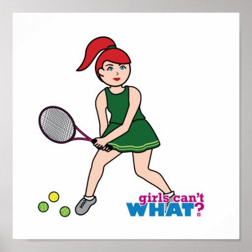 Tennis Player Girl - Light/Red Poster