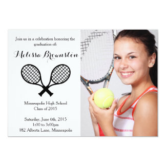 Tennis Player Graduation Party Photo Invite