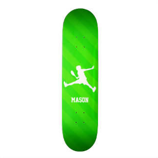 Tennis Player; Neon Green Stripes 21.6 Cm Skateboard Deck