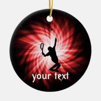 Tennis Player; Red Christmas Ornament