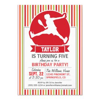 Tennis Player; Red, Orange, Green, White Stripes Custom Invitation Card