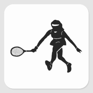 Tennis Player Silhouette Square Stickers