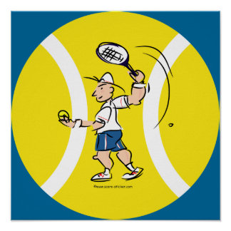 Tennis poster with cartoon and yellow ball