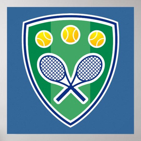 Tennis Poster with tennis racket emblem