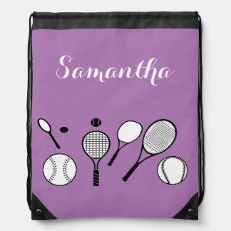 Tennis purple girls travel bag backpacks