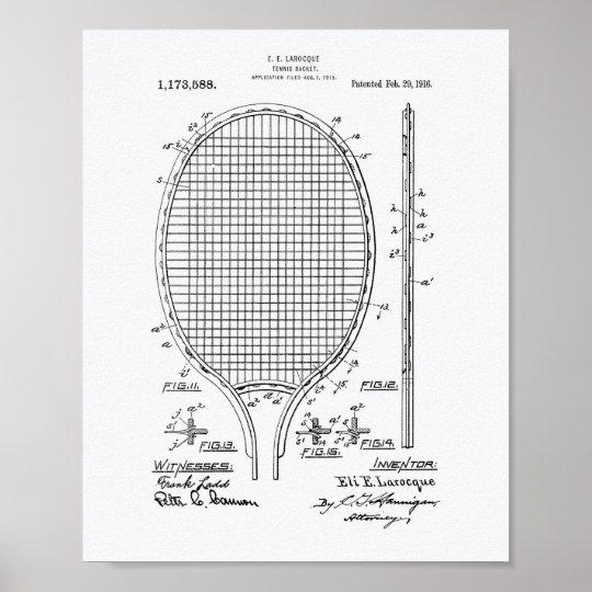Tennis racket 1916 Patent Art - White Paper