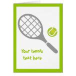 Tennis racket and ball custom greeting card