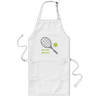 Tennis racket and ball custom long apron