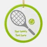Tennis racket and ball custom round ceramic decoration