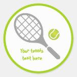 Tennis racket and ball custom round sticker