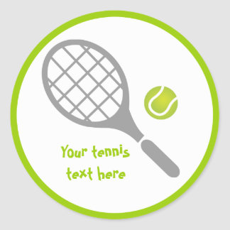 Tennis racket and ball custom round sticker