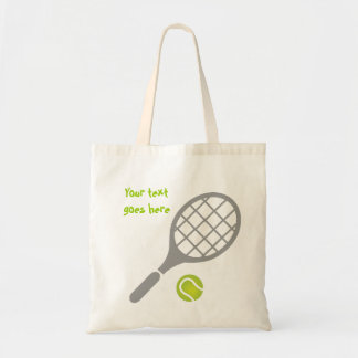 Tennis racket and ball custom tote bag
