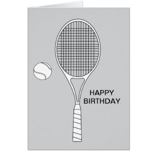 Tennis Racket and Ball Greeting Card