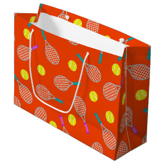 Tennis racket and ball pattern themed party bag