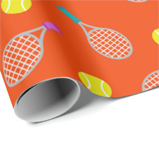Tennis racket and ball pattern themed party wrap wrapping paper