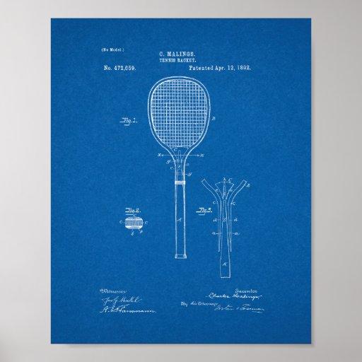 Tennis Racket Patent - Blueprint Poster