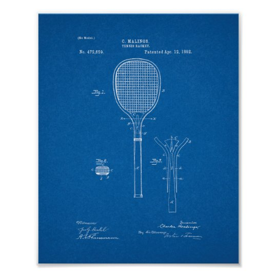 Tennis Racket Patent - Blueprint Poster