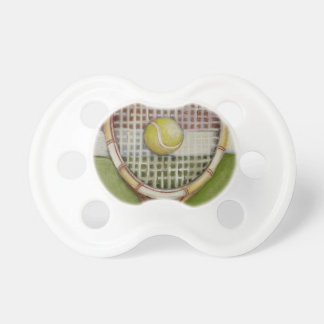 Tennis Racket with Ball Laying on Court Baby Pacifiers