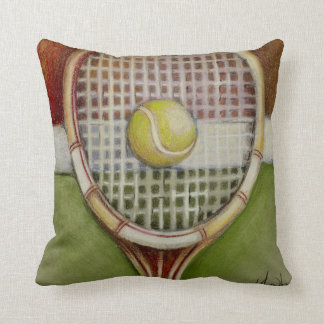 Tennis Racket with Ball Laying on Court Cushion