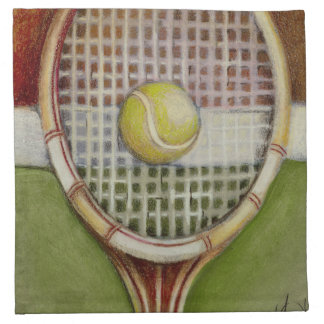 Tennis Racket with Ball Laying on Court Napkin