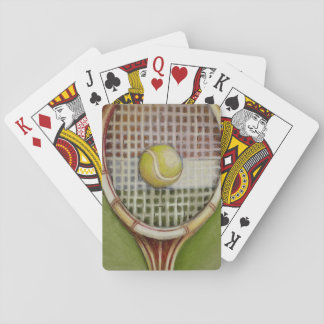 Tennis Racket with Ball Laying on Court Playing Cards