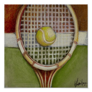 Tennis Racket with Ball Laying on Court Poster