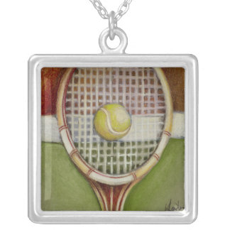 Tennis Racket with Ball Laying on Court Silver Plated Necklace