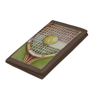 Tennis Racket with Ball Laying on Court Tri-fold Wallet