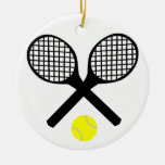 Tennis Rackets and Tennis Ball Round Ceramic Decoration