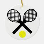 Tennis Rackets and Tennis Ball Round Ceramic Decoration
