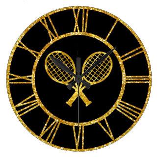 Tennis Rackets in Gold Clocks