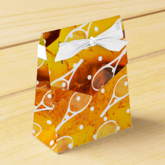 Tennis racquet on amber background wedding favour boxes