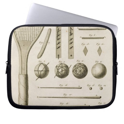 Tennis Racquets and Billiard Cues, from the 'Encyc Laptop Sleeve